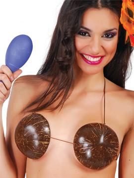 Sujetador de cocos para disfrazarte de hawaiana