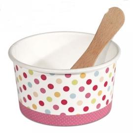 Set de 12 tarrinas con cuchara rosa
