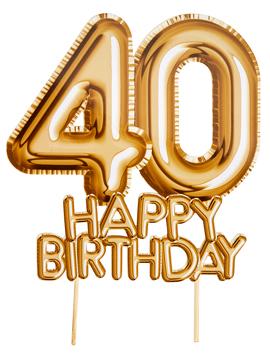 Topper para Tartas 40 Cumpleaños Oro