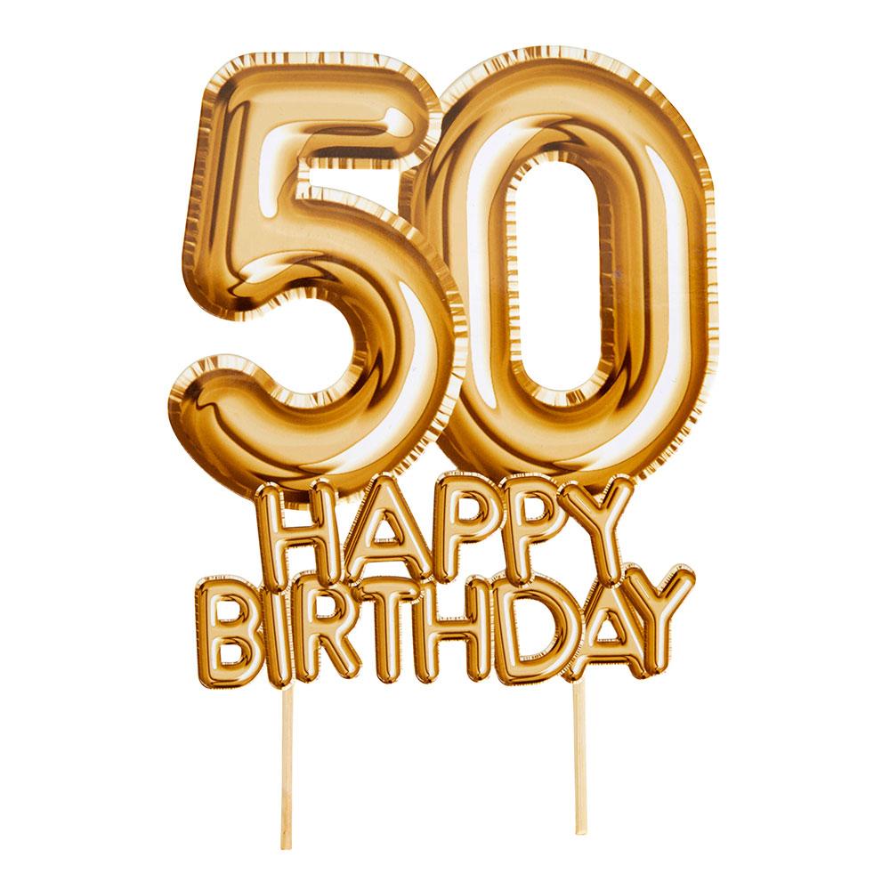 Topper para Tartas 50 Cumpleaños Oro