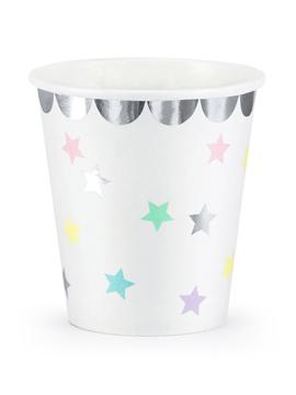 Set 6 vasos blancos con estrellas de 180 ml