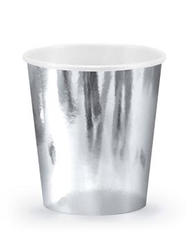 Set de 6 vasos de cartón plateados de 180 ml