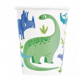 Vasos de Papel Dinosaurio Azul y Verde 8 ud