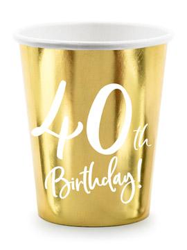 Vasos de Papel Dorados 40 Años 6 ud