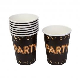 Vasos Dorados y Negros Party 8 ud