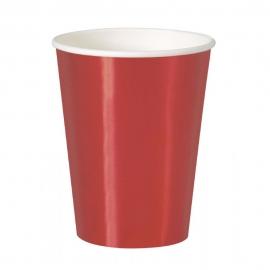 Vasos de Papel Rojo Metalizado 355 ml 8 ud