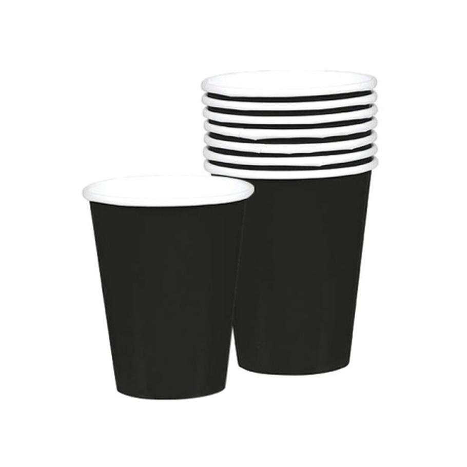 Vasos de Papel Negros 266 ml 8 ud