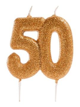 Vela 50 Años con Purpurina
