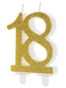 Vela 18 Cumpleaños Dorada