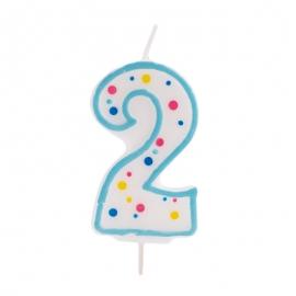 Vela de cumpleaños 2 Azul - Miles de Fiestas