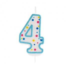 Vela de cumpleaños 4 Azul - Miles de Fiestas