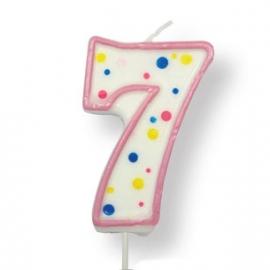 Vela de cumpleaños 7 rosa