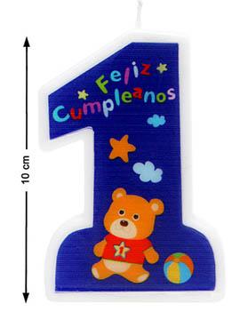 Vela Nº 1 Feliz Cumpleaños Azul 10 cm