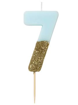Vela del número 7 en color azul celeste y dorada de 12 cm