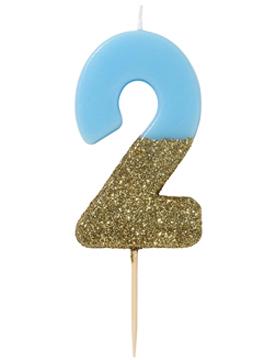 Vela Nº 2 Azul Dorada de 12 cm