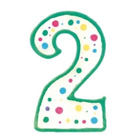 Vela de cumpleaños Nº 2 verde