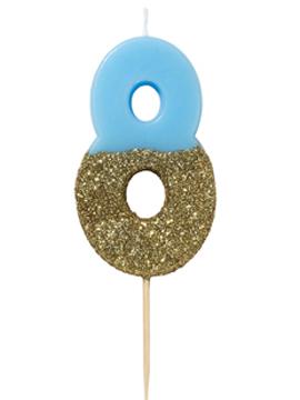 Vela Nº 8 Azul y Dorada de 12 cm