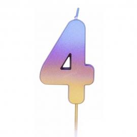 Vela Número 4 Rainbow 7 cm