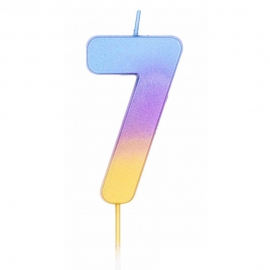 Vela Número 7 Rainbow 7 cm