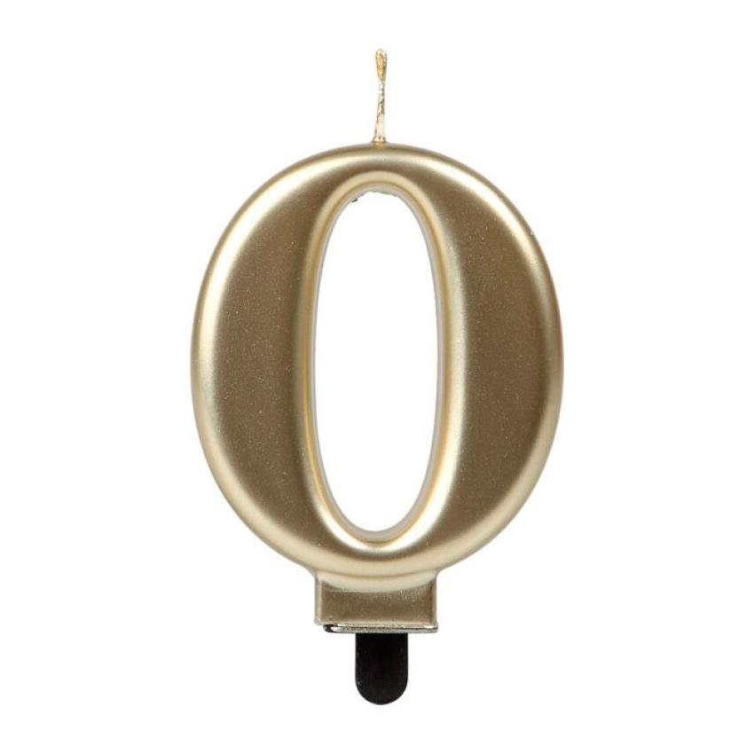 Vela Número 0 Dorada 7 cm