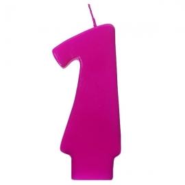 Vela número 1 color fucsia 6cm