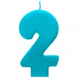 Vela número 2 color turquesa 6cm