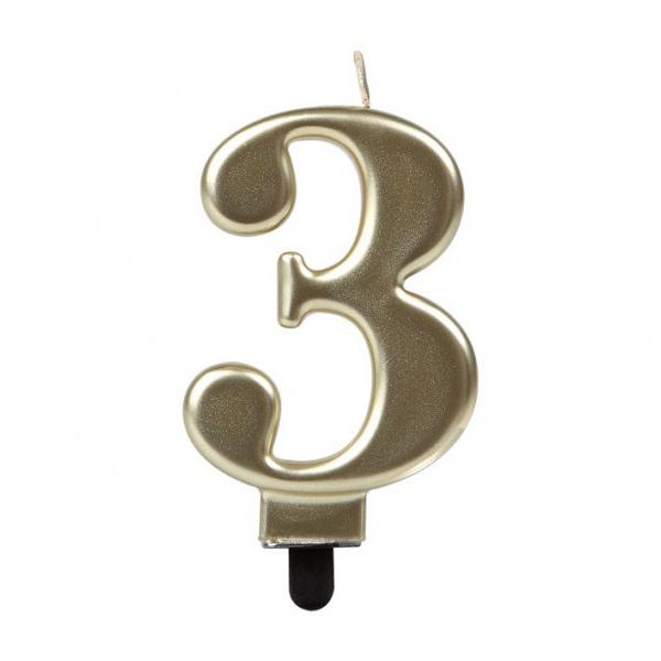 Vela Número 3 Dorada 7 cm