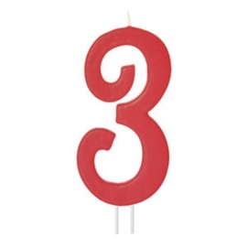 Vela Número 3 Roja 12cm