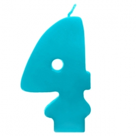 Vela número 4 color turquesa 6cm