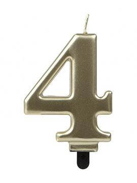 Vela Número 4 Dorada 7 cm