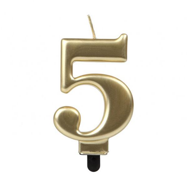 Vela Número 5 Dorada 7 cm