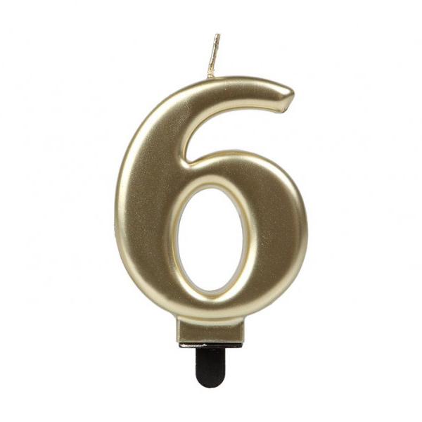Vela Número 6 Dorada 7 cm