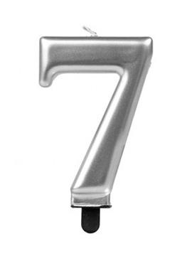 Vela Número 7 Plateada 7 cm