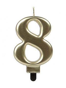 Vela Número 8 Dorada 7 cm