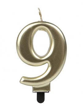 Vela Número 9 Dorada 7 cm