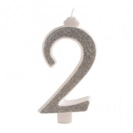 Vela Brillante Plata Nº 2 12 cm