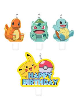 Juego de 4 Velas Cumpleaños Pokémon
