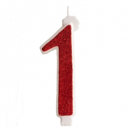 Vela Brillante Roja Nº 1 12 cm
