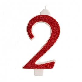 Vela Brillante Roja Nº 2 12 cm