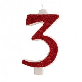 Vela Brillante Roja Nº 3 12 cm