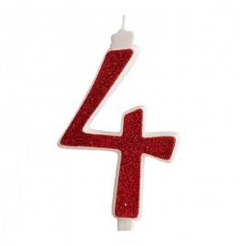 Vela Brillante Roja Nº 4 12 cm
