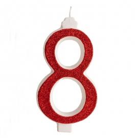 Vela Brillante Roja Nº 8 12 cm
