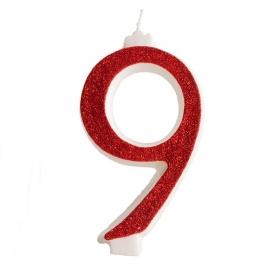 Vela Brillante Roja Nº 9 12 cm