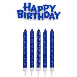 Velas Azules Happy Birthday