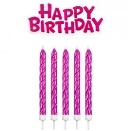 Velas Fucsias Happy Birthday