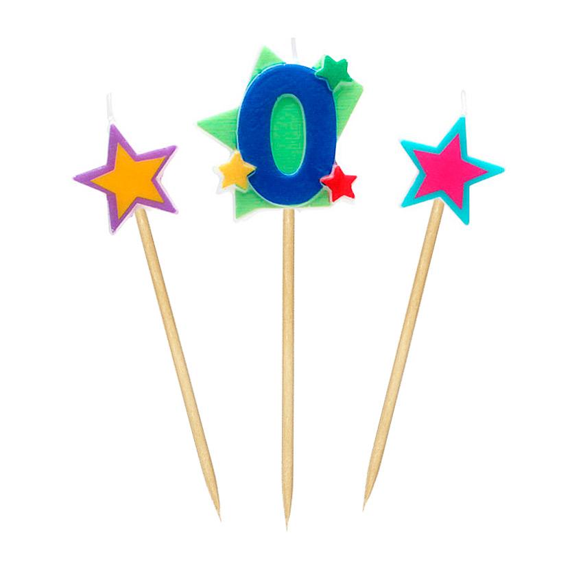 Velas Número 0 Estrellas