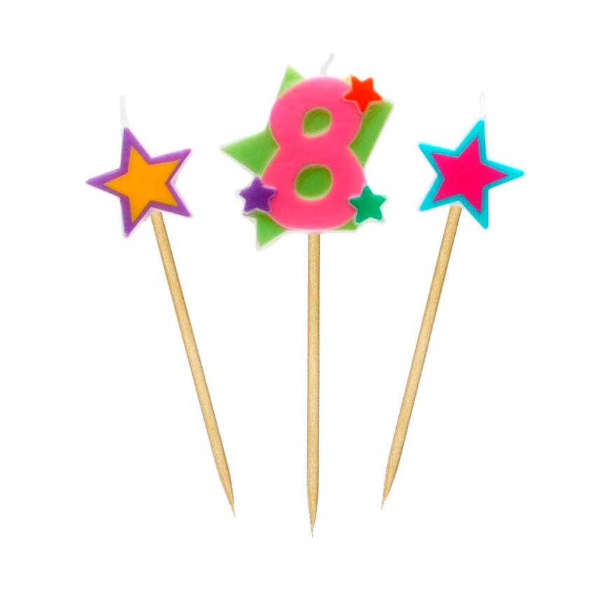 Velas Número 8 Estrellas