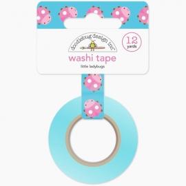 Washi Tape azul cielo con mariquitas