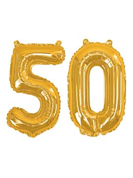 Globos de foil de 50 años en color oro, incluye cinta y palito