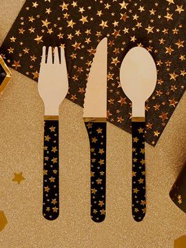 Set de 24 cubiertos de madera con estrellas doradas
